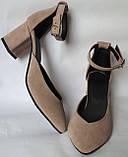 Комфортные туфли Limoda из натуральной замша босоножки на каблуке 6 см очень красивые цвет латте, фото 5