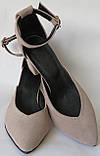 Комфортные туфли Limoda из натуральной замша босоножки на каблуке 6 см очень красивые цвет латте, фото 3