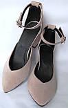Комфортные туфли Limoda из натуральной замша босоножки на каблуке 6 см очень красивые цвет латте, фото 4