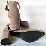 Комфортные туфли Limoda из натуральной замша босоножки на каблуке 6 см очень красивые цвет латте, фото 2