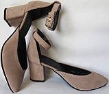 Комфортные туфли Limoda из натуральной замша босоножки на каблуке 6 см очень красивые цвет латте, фото 7