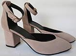 Комфортные туфли Limoda из натуральной замша босоножки на каблуке 6 см очень красивые цвет латте, фото 6