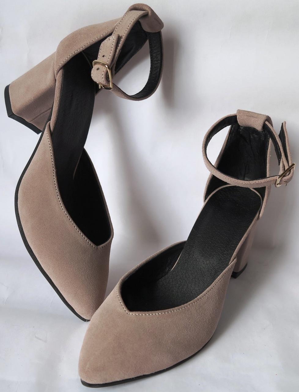 Комфортные туфли Limoda из натуральной замша босоножки на каблуке 6 см очень красивые цвет латте