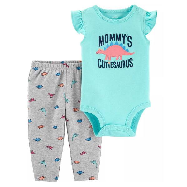 Набор бодик и штанишки для девочки Carters динозаврик