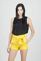 Женские яркие летние шорты с поясом Желтые