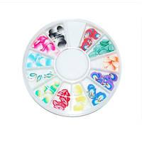 Фимо для декору нігтів YRE DF-L, Листок в каруселі 12 шт, манікюр з фимо, декор на нігтях, декор в паличці фимо