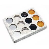Пісок кольоровий для дизайну нігтів YRE ND-6D, в наборі 4 кольори 12 шт, пісок для дизайну нігтів, декор нігтів, пісочний манікюр, глитер - пісок