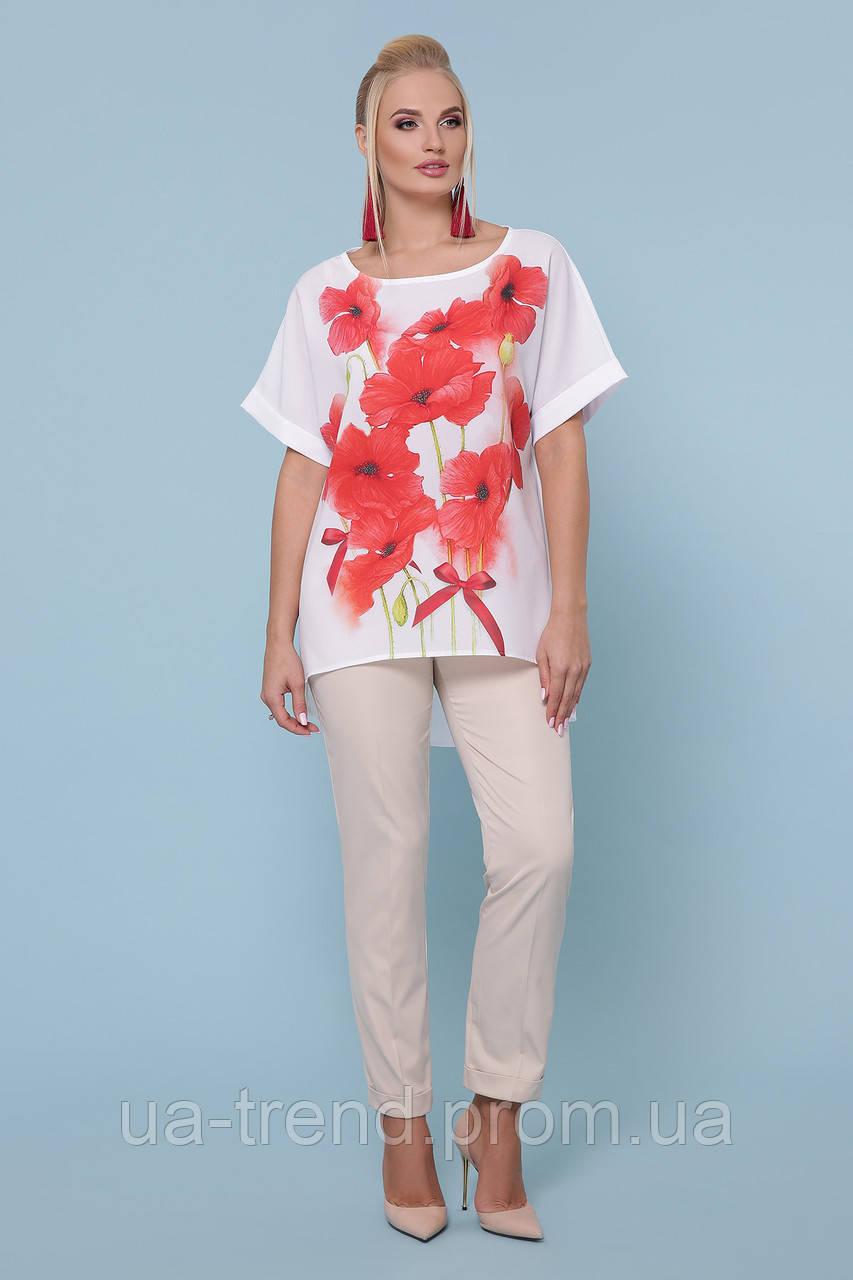 Женская блуза на лето из шифона батал