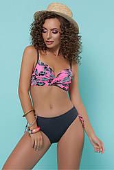 Жіночий купальник рожевий з чорним