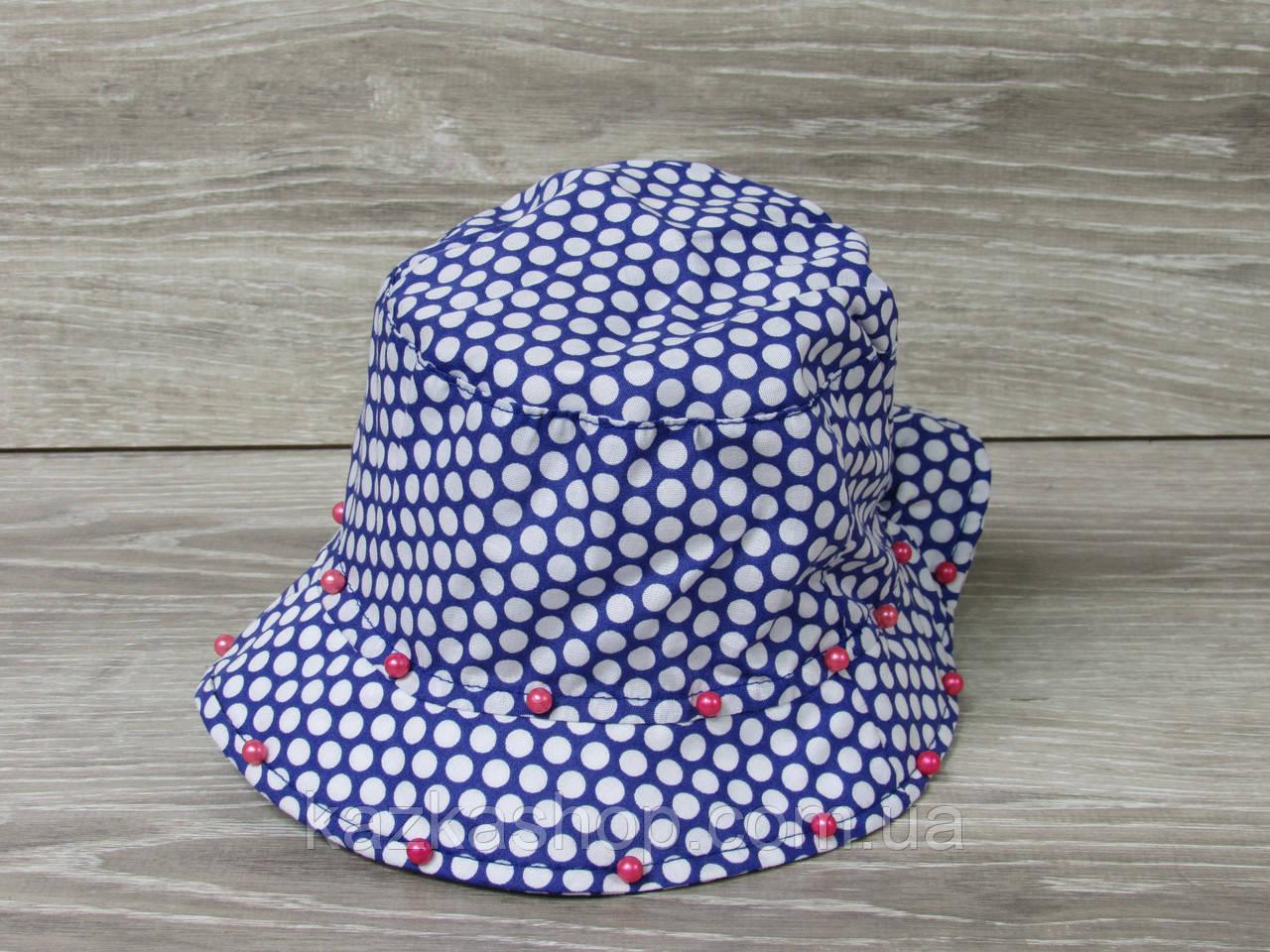 Детская панама, шляпка для девочек в горошек с бусинками, 100% хлопок, размер 46-48