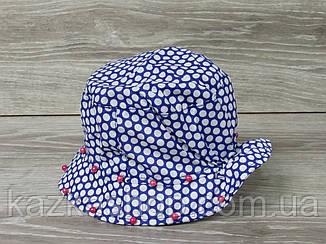 Детская панама, шляпка для девочек в горошек с бусинками, 100% хлопок, размер 46-48, фото 2
