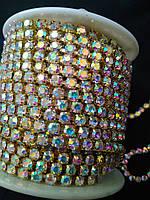 Страхова ланцюг gold, Crystal AB, SS16 (3,8-4,0 мм) 1 ряд. Ціна за 1м.