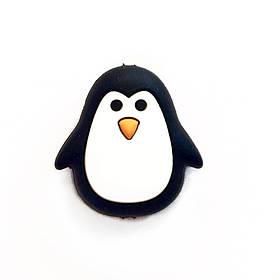 Пингвин бусина (черный) силиконовая бусина