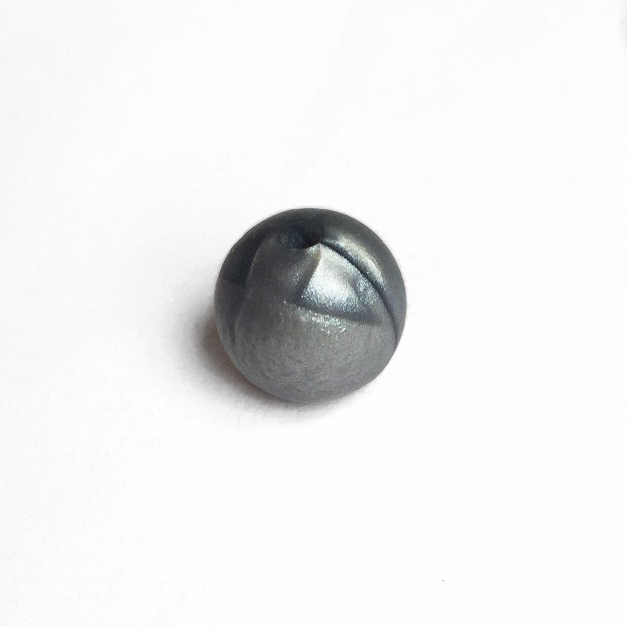 15мм (серебро перламутр) круглая, силиконовая бусина