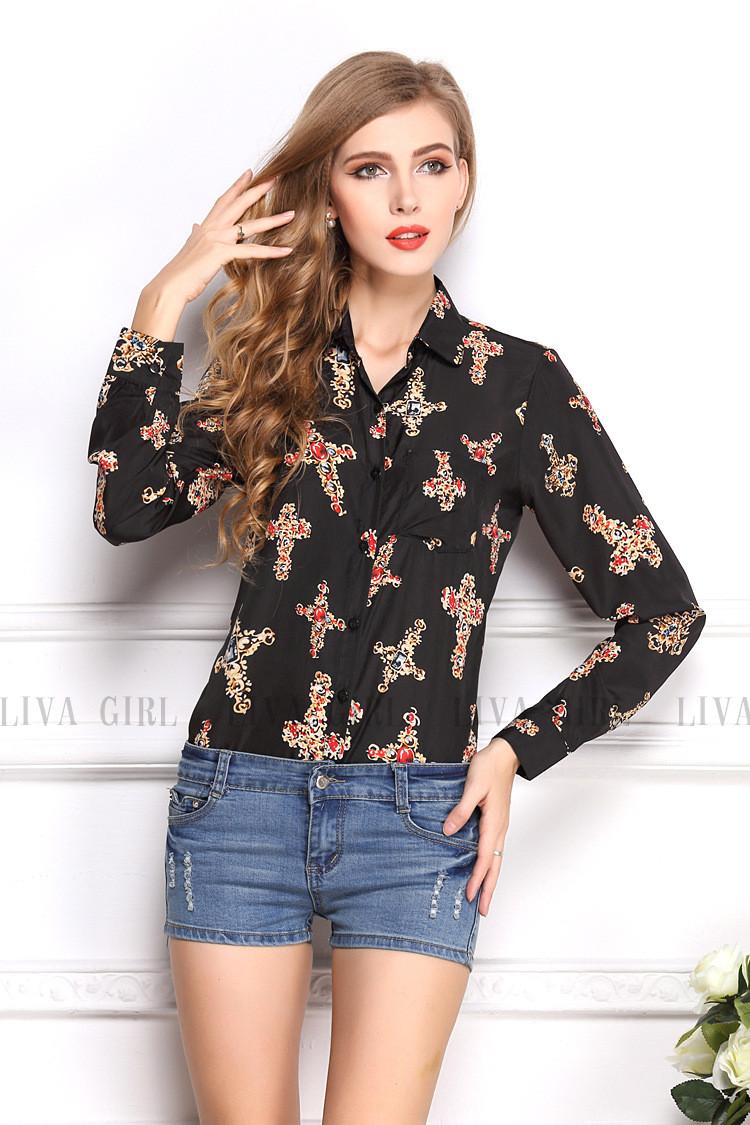 Блузка женская / рубашка с крестиками черная 44