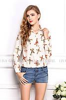 Блузка женская / рубашка с крестиками молочная 44, фото 1