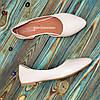 Кожаные женские балетки с заостренным носком, бежевого цвета, фото 3
