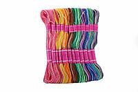 (Ціна за 25шт) Нитки декоративні Цветик, довжина 8 м, в наборі різні кольори, нитки для вишивання, різнокольорові нитки
