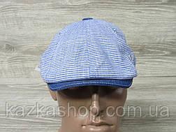 Подростковая, детская кепка хулиганка, голубого цвета, в полоску, сезон весна-лето, размеры 49-56 см, фото 2