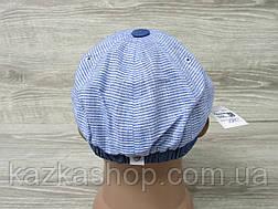 Подростковая, детская кепка хулиганка, голубого цвета, в полоску, сезон весна-лето, размеры 49-56 см, фото 3