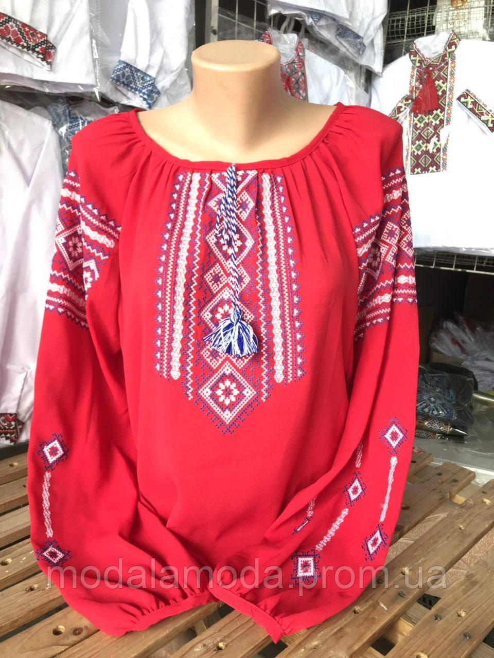 Вышиванка женская красная с красивым орнаментом под заказ