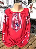 Вышиванка женская красная с красивым орнаментом под заказ, фото 1