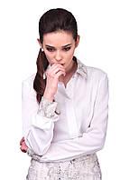 Женская деловая рубашка с принтованным воротником и манжетам Белая, фото 1