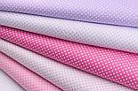"""Набір тканин 50*50 з 5-х шт """"Пунктирний горошок"""" бузково-рожевого кольору (№139), фото 3"""