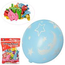 Набір надувних кульок (50 шт.), з місяць і зірки (різнокольорові), 12 см, MK 2580