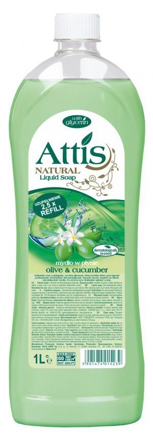 Жидкое мыло для рук Attis Natural Оливка и огурец 1л