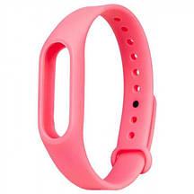 Запасной силиконовый ремешок для спортивного фитнес браслета Xiaomi Mi Band 2 розовый (pink)
