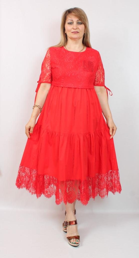 Турецкое кружевное красное платье для торжества, размеры 48-54