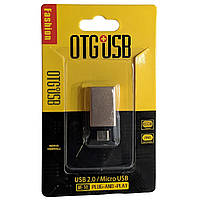 OTG переходник OTG+USB  microUSB (металл) золотистый