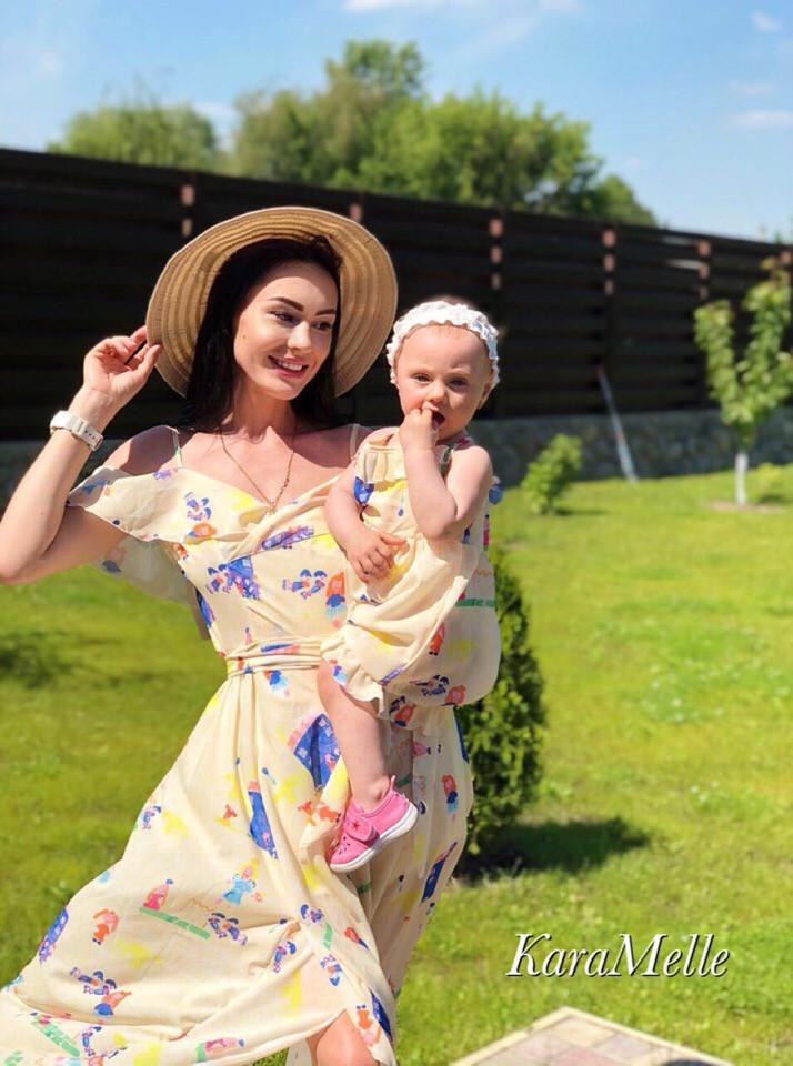 Длинное платье для мамы и дочки комплектом 512145