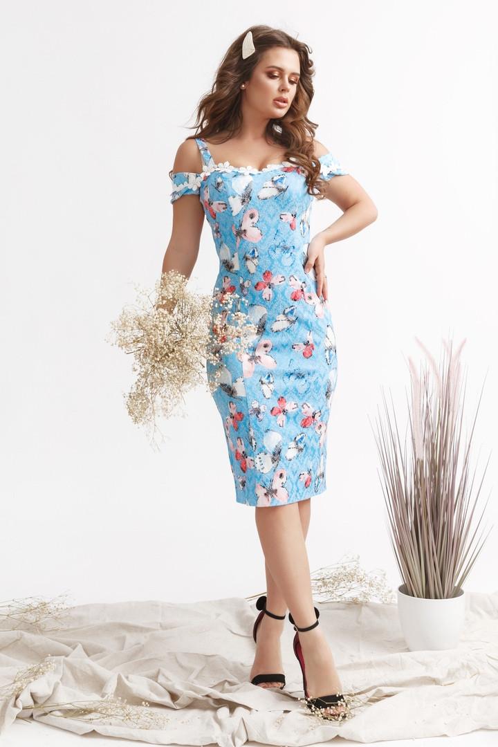 "Облегающее летнее платье-сарафан ""Бабочка"" на бретелях"