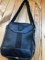 Спортивная барсетка сумка Puma , Кожа PU, удобная и универсальная, трендовая сумка, черная и небольшая.