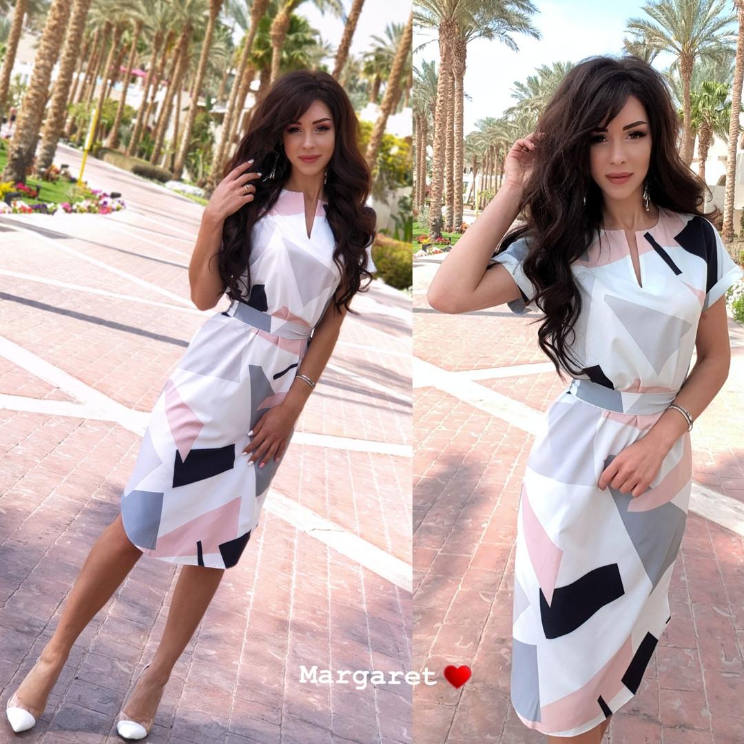 Платье с поясом, ткань: софт эксклюзивный принт. Размер:С (42-44), М (46-48). Разные цвета (6649)
