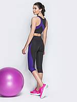 Спортивный костюм Issa Plus 10495 капри и топ черный с фиолетовым