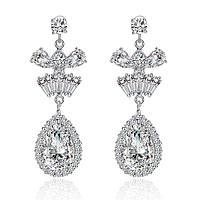 Длинные серьги для невесты вечерня бижутерия с белыми камнями в позолоте Квинта 865627