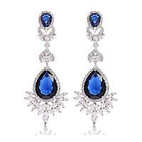 Длинные серьги для невесты вечерняя бижутерия с крупными синими кристаллами Alexis 163369