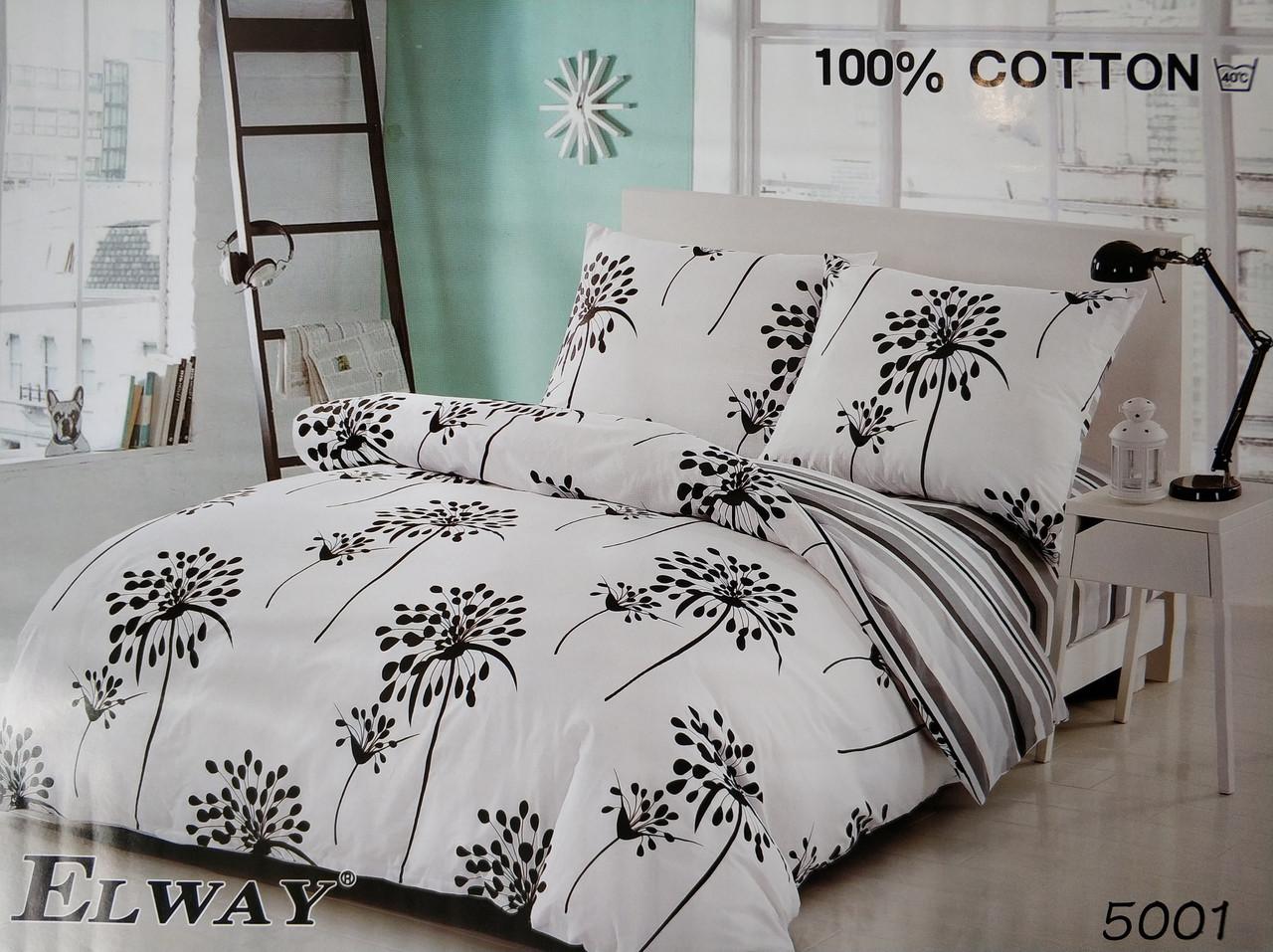 Сатиновое постельное белье евро ELWAY 5001 «Одуванчик на белом»