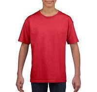 Футболка дитяча червона SoftStyle від Gildan, Канада. 100% коттон. Без принтів. Під нанесення логотипів, фото 1