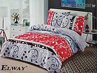 Сатиновое постельное белье евро  ELWAY 5002 «Абстракция»