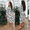 Сукня з ексклюзивним принтом, тканина: софт. Розмір:42-44. Колір: чорний з білим (6654), фото 2