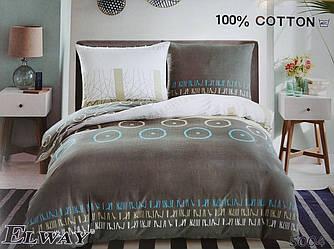 Сатиновое постельное белье евро ELWAY 5004 «Абстракция»