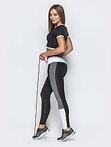 Спортивный костюм с кроп-топом и лосинами черный с серым размер М, фото 3