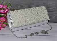 Женский вечерний клатч с стразами светлый, фото 1