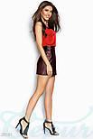 Кожаная юбка-мини на змейке марсала, фото 2