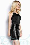 Кожаная юбка-мини на змейке черная, фото 2