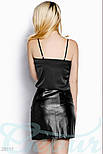 Кожаная юбка-мини на змейке черная, фото 3